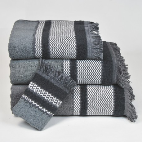 Grey Bath Towel design Flecos made from 100% cotton