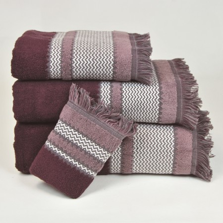 Aubergine Bath Towel design Flecos made from 100% cotton