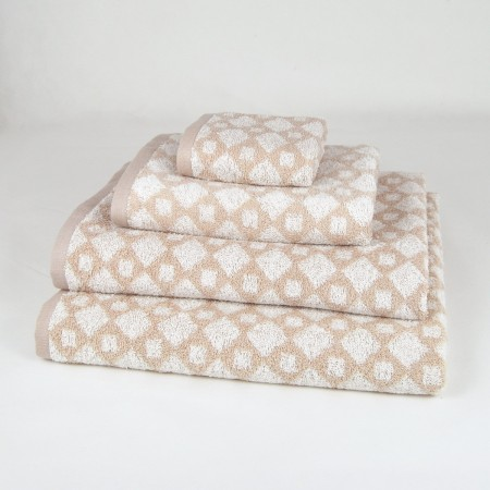 Beige Bath Towel design Geo made from 100% cotton