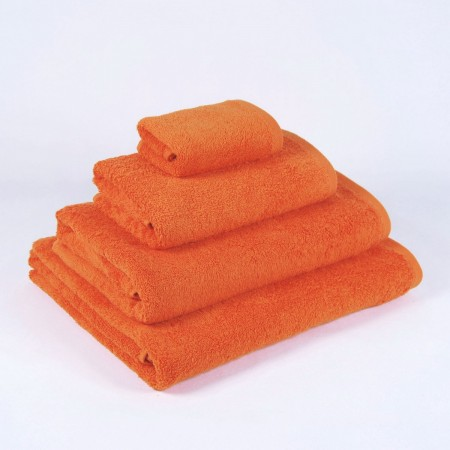 Serviette de bain orange unie 100 % coton