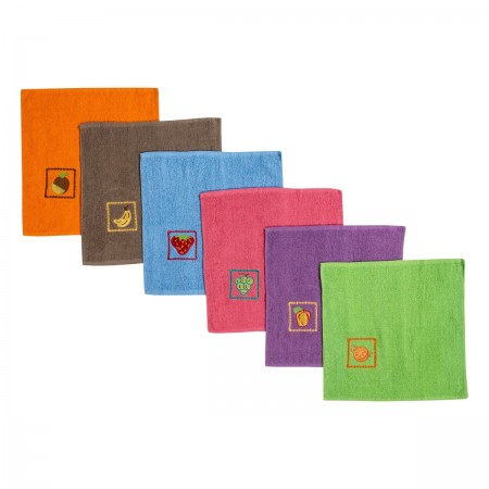 Embroidered tea towels in terry made from 100% cotton