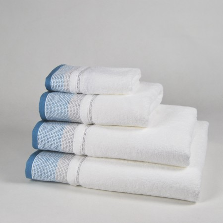Blue and White Bath Towel design Diamond made from 100% cotton