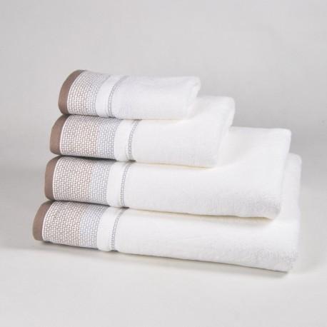Serviette de bain beige et blanche à motif 100% coton