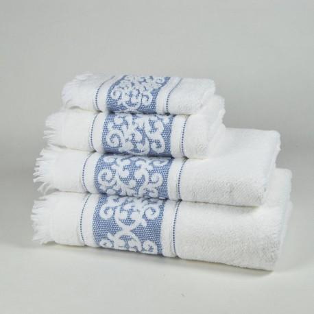 Toalla de baño azul con dibujo con flecos algodón 100%