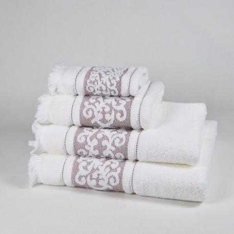 Toalla de baño beige con dibujo con flecos algodón 100%