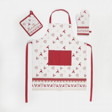 Set apron + pot holder + glove