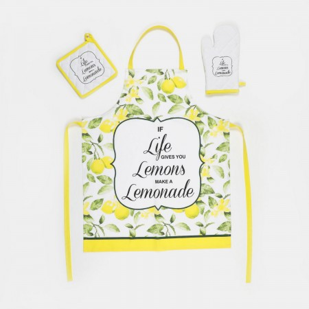 Set de Delantal + Agarrador + Manopla amarillo Lemons