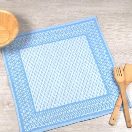 Paño de cocina azul de tela de algodón 100%.