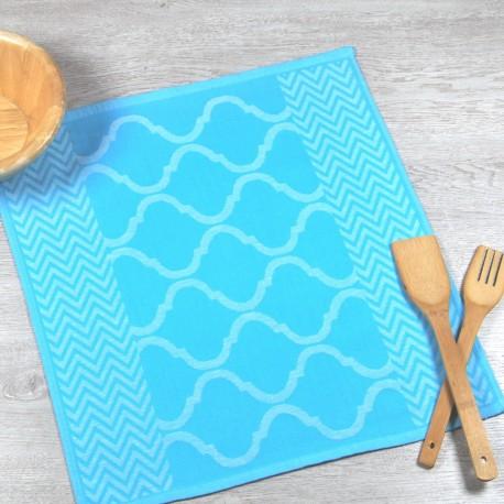 Paño de cocina azul celadón de tela de algodón 100%.
