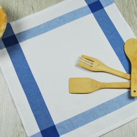 Torchon de cuisine bleu en tissu 100 % coton.