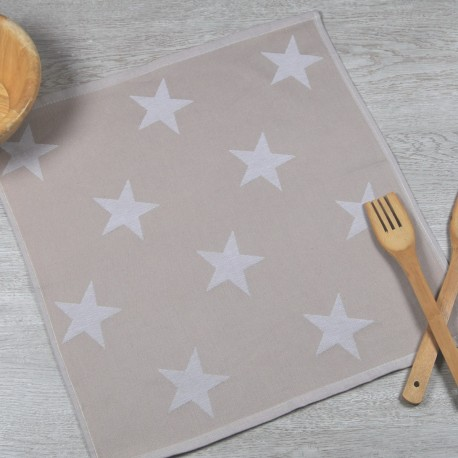Torchon de cuisine beige en tissu 100% coton.