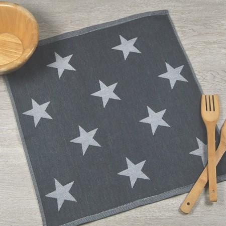 Torchon de cuisine gris anthracite en tissu 100% coton.