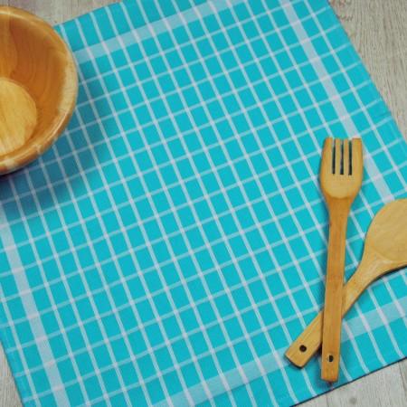 Paño de cocina azul turquesa de tela de algodón 100%.
