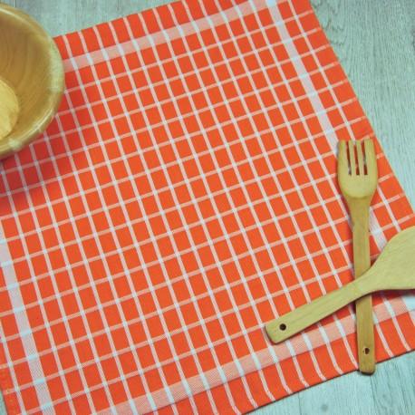 Torchon de cuisine orange en tissu 100% coton.