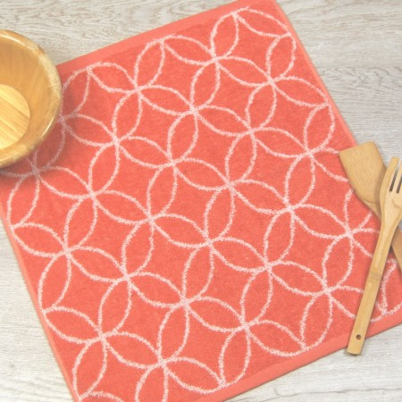 Coral terry kitchen towel from 100% cotton