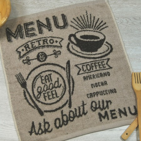 Beige terry kitchen towel from 100% cotton