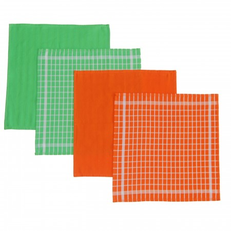 Set 4 kitchen towels orange and green from 100% cotton