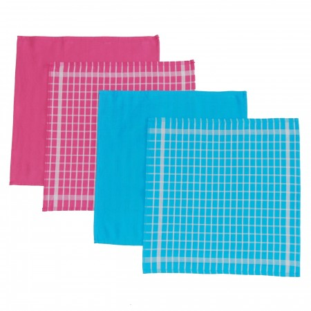 Set 4 kitchen towels blue and fushia from 100% cotton