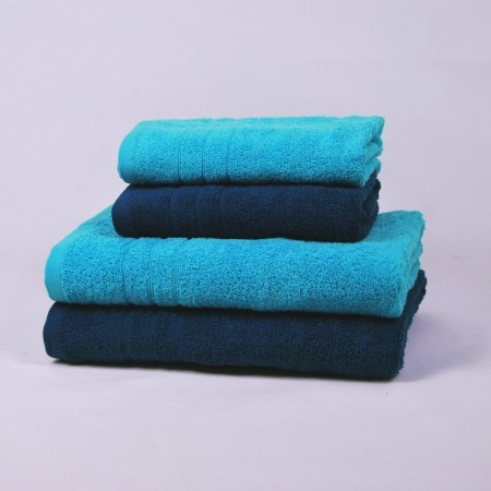 Nautical blue and turquoise towels set made from 100% cotton