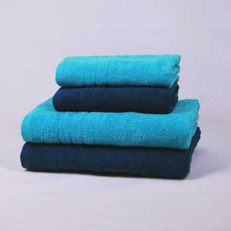 Juego de 4 toallas Náutico y Turquesa 100% Algodón