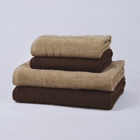 Juego 4 toallas beige y chocolate 100% Algodón