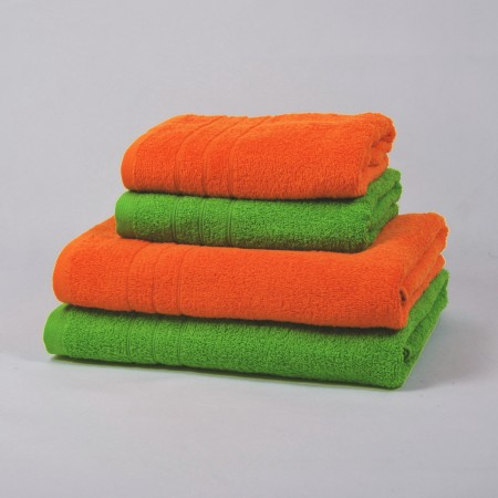 Orange and green towels set made from 100% cotton