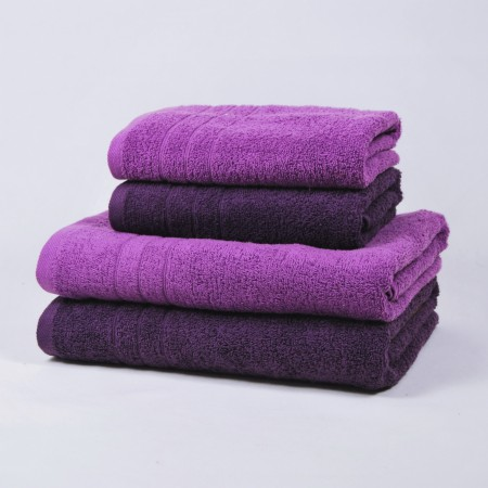 Purple and aubergine towels set made from 100% cotton