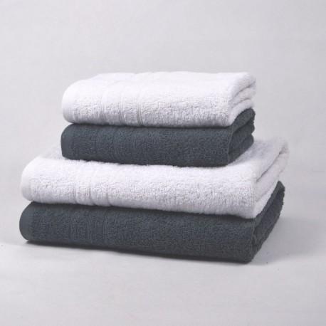 Juego de 4 toallas Blanco y Gris 100% Algodón