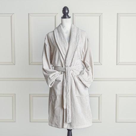 Albornoz de terciopelo beige y blanco a rayas de algodón 100%