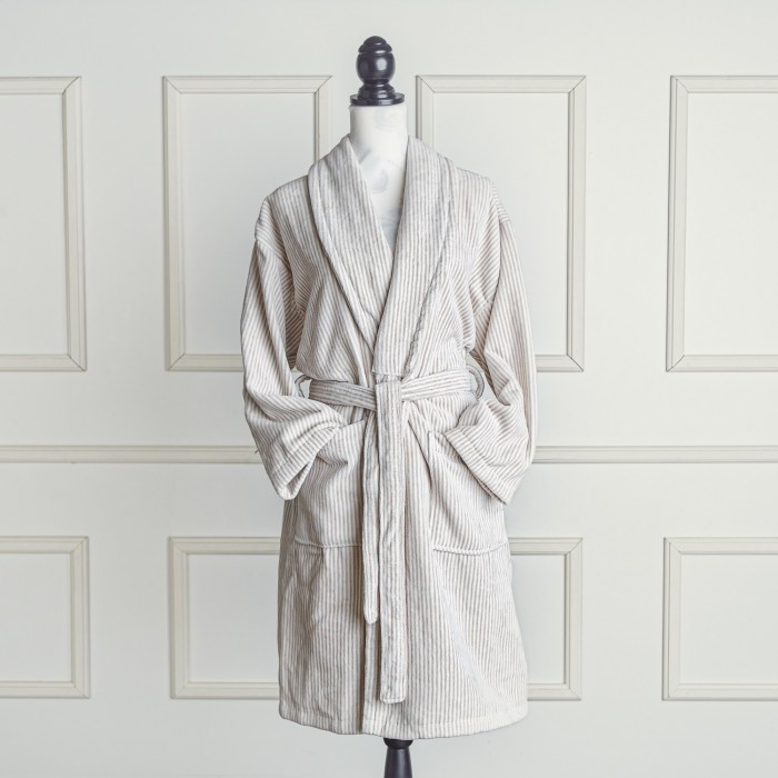 Beige and white velour bathrobe made from 100% cotton