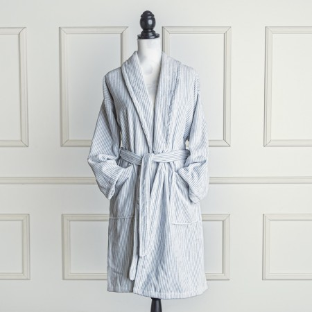 Grey and white velour bathrobe made from 100% cotton