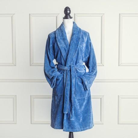 Albornoz de terciopelo azul y gris a rayas de algodón 100%