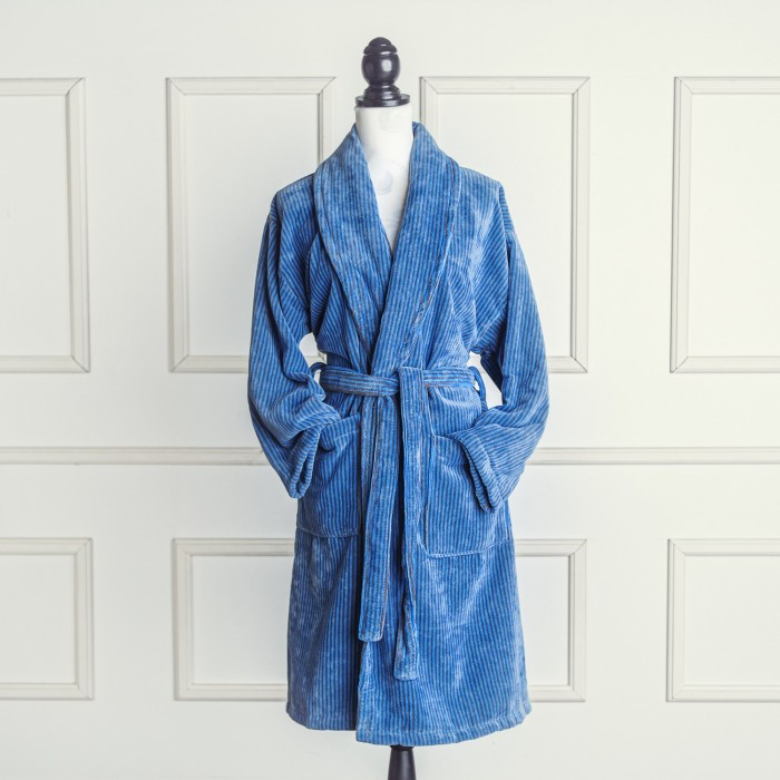Blue and grey velour bathrobe made from 100% cotton