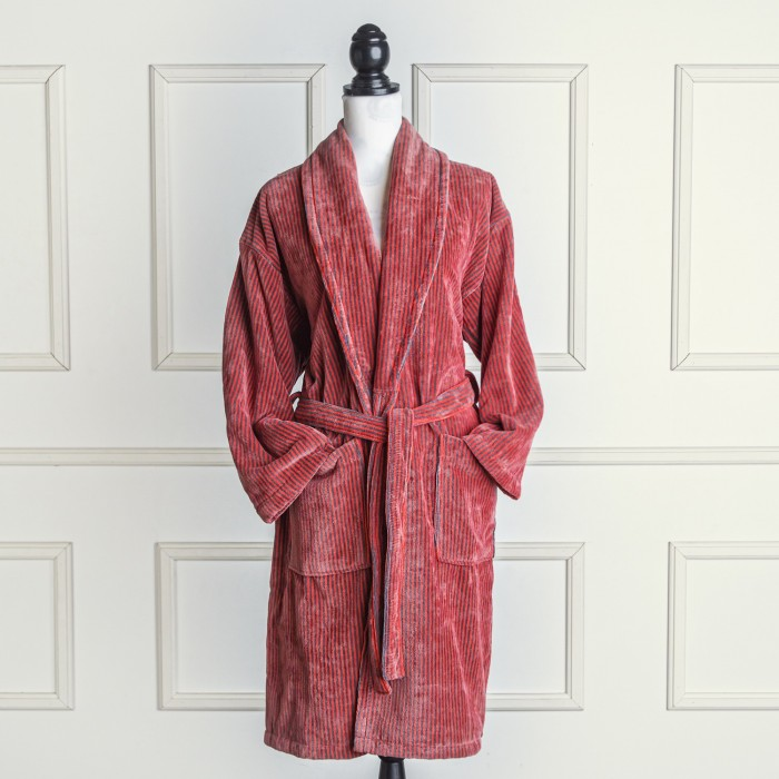 Coral and grey velour bathrobe made from 100% cotton