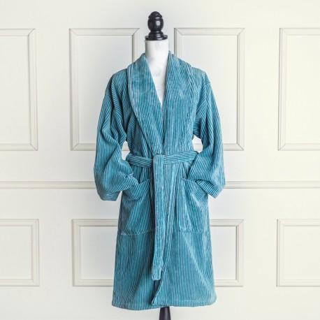 Albornoz de terciopelo azul aqua y gris a rayas de algodón 100%
