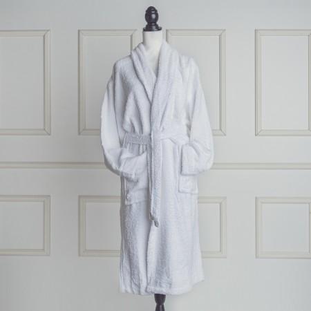 Albornoz baño blanco liso de algodón 100%