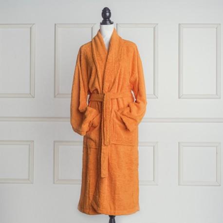 Albornoz baño naranja liso de algodón 100%