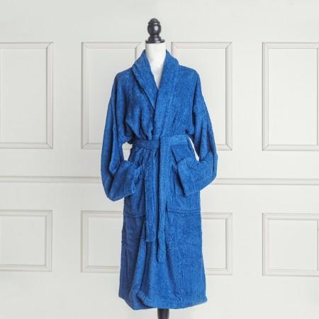 Albornoz baño azul náutico liso de algodón 100%