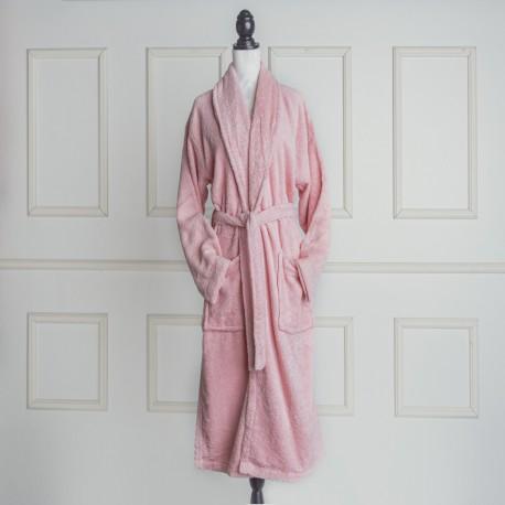 Albornoz baño rosa liso de algodón 100%