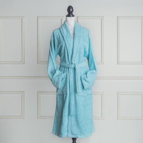 Albornoz baño azul celadón liso de algodón 100%
