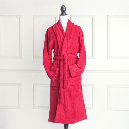 Albornoz baño rojo liso de algodón 100%