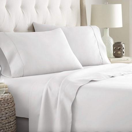 Juego de sábanas blanco 50/50 cama 180 cm